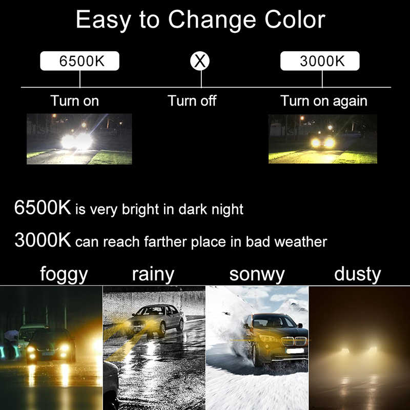 BraveWay 3000K Yellow+6500K White Dual LED Fog Lamps for Car H1 H3 H7 H8 H11 HB3 HB4 9005 9006 H3 LED Bulb H8 LED Fog Light
