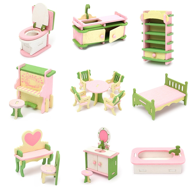 Delightful Cute Wooden Miniature Room Furniture Set Ornaments Figurines Dolls House  Kids Pretend Play Toys Gifts Home Decoration Crafts In Figurines U0026  Miniatures From ...