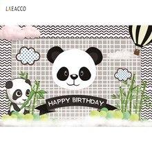 Laeacco Panda Birthday Party Bamboo Cloud Baby Poster Cartoon Photo Backdrops Photographic Backgrounds Photocall Photo Studio laeacco photographic backgrounds mask ribbons birthday party celebration baby newborn photo backdrops photocall photo studio