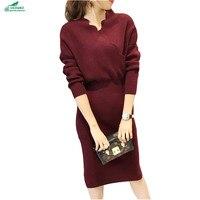 Autumn Winter Korean Women Knitting Sweater Dress Middle Length Sweater Open End Keep Warm Dress Slim