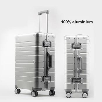 """Conto de viagem de alumínio barato mala viagem 24 """"spinner 20"""" caso do trole da bagagem do negócio na roda"""