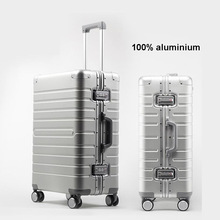 "TRAVEL TALE Cheap aluminum travel suitcase 24"" spinner 20"" business luggage trolley case on wheel"