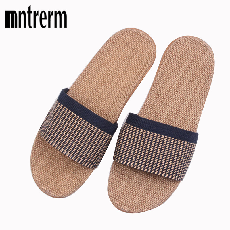 Mntrerm Spring 2017 Anti-slip Summer Indoor Slippers High Quality Linen Home Shoes Men Breathable Casual Flax Floor Slippers coolsa men s summer non slip striped canvas linen slippers men s indoor bathroom flax slippers men s breathable fashion slides