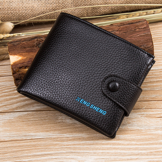 2016 Genuine Cow Leather Men Wallet Coin pocket Small Hasp man wallet brack color famous Brand Short Design Wallets Card Holders