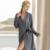 Alta Qualidade Mulheres Jacquard De Malha Com Decote Em V de Algodão Loungewear Robe Roupão Camisola Pijamas Pijamas Camisola roupa