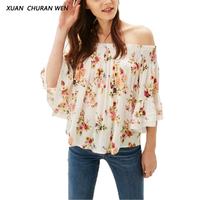 XUANCHURANWEN 2017 Women Flare Sleeve Blouse Lace Off Shoulder Crop Top Blouse Floral Strapless Shirt DD8721