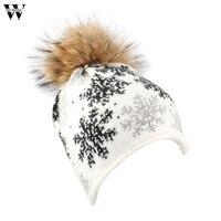 Womail 2017 Hot Sale High Quality Women Winter Snowflake Fur Wool Knit Hat Beanie Warm Cap
