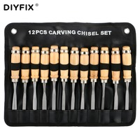 DIYFIX 12 in 1 Manual Wood Carving Chisel Knives Hand Tool Kit Carpenters Woodworking Carving Chisel DIY Hand Tools Set with Bag