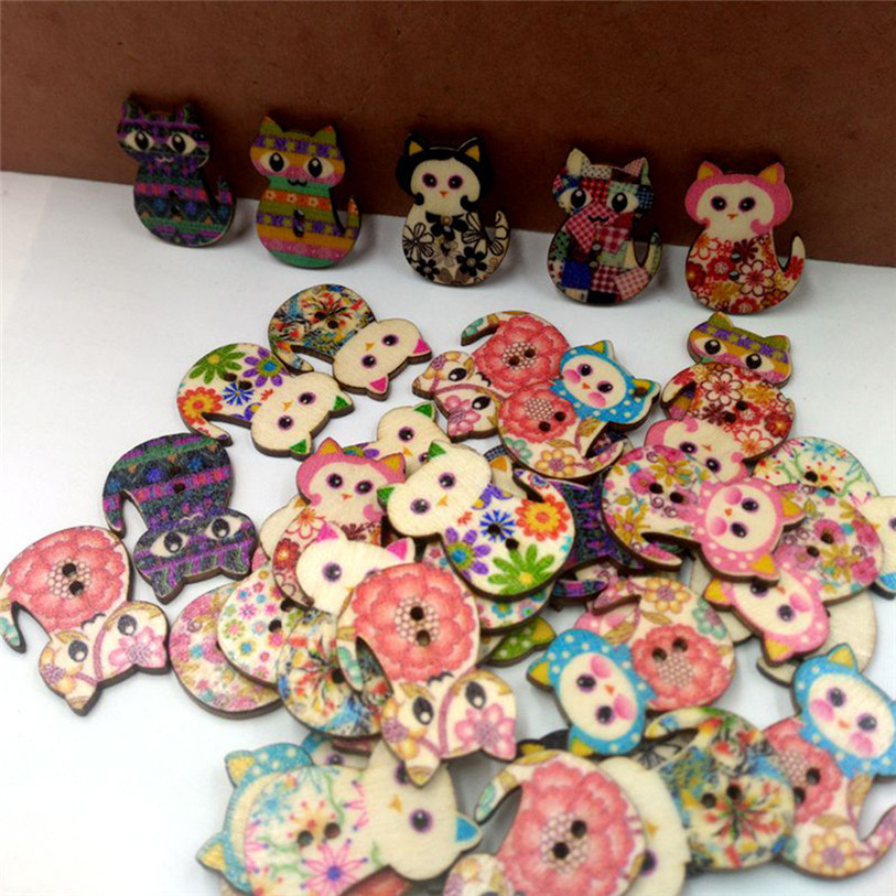 50PC Wooden Cute Cat Sewing Accessories Buttons 2 Holes Sewing Scrapbooking Crafts Sewing Accessories for Clothes Bags 40SP12 (5)