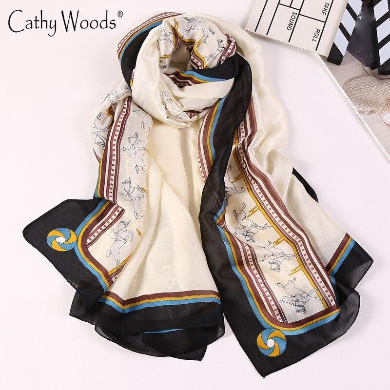 Women Scarf 100% Pure Silk Scarf Luxury Brand Horse/Skull Printed Scarves Echarpe Foulards Femme Ladies Beach Silk Chiffon Shawl