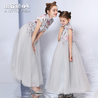 Family Matching Outfits Wedding Clothes Mum Mom and Daughter Dress Floral Luxury Embroidery Flower Mother Daughter Tutu Dresses