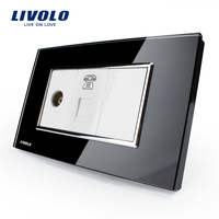 US AU Standard Livolo Luxury Black Pearl Crystal Glass TV Telephone Socket VL C391VT 82
