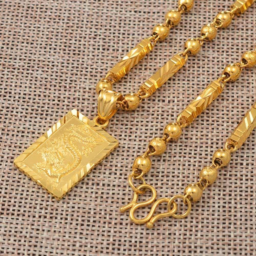 Anniyo męska wisiorek w kształcie smoka i koraliki Chain naszyjniki złoty kolor biżuteria dla ojca lub męża prezent #006809P