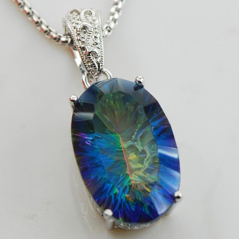 Huge Concave Cut Rainbow Crystal Zircon 925 Sterling Silver Pendant