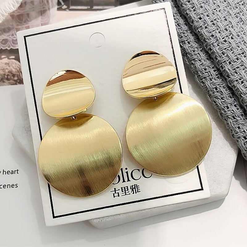New Korean Women's Fashion Statement Metal Earrings For Women Gold And Silver Color Jewelry Simple Vintage Dangle Drop Earrings