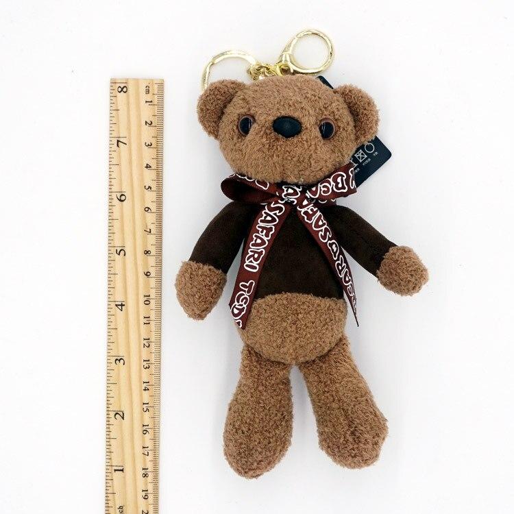 19cm Tie Teddy Bear Mini Plush Keychain Bear Pendant Key Ring Holder Animal Toys Dolls Ladies Bag Charm Car Key Chins Llavero