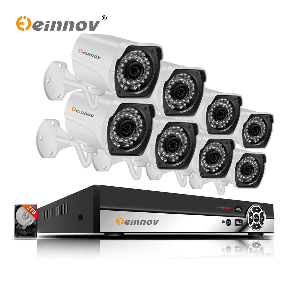 Einnov POE 8CH NVR Outdoor Video Surveillance Camera 1440P 3MP CCTV Camera Security System Kit IP H.265 Wired Night Vision HDD Einnov POE 8CH NVR Outdoor Video Surveillance Camera 1440P 3MP CCTV Camera Security System Kit IP H.265 Wired Night Vision HDD