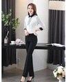 Moda Terninhos Mulheres Ternos Desgaste do Trabalho com 2 Peça Pant e Top Define Ladies Escritório Uniforme Blusas & Camisas