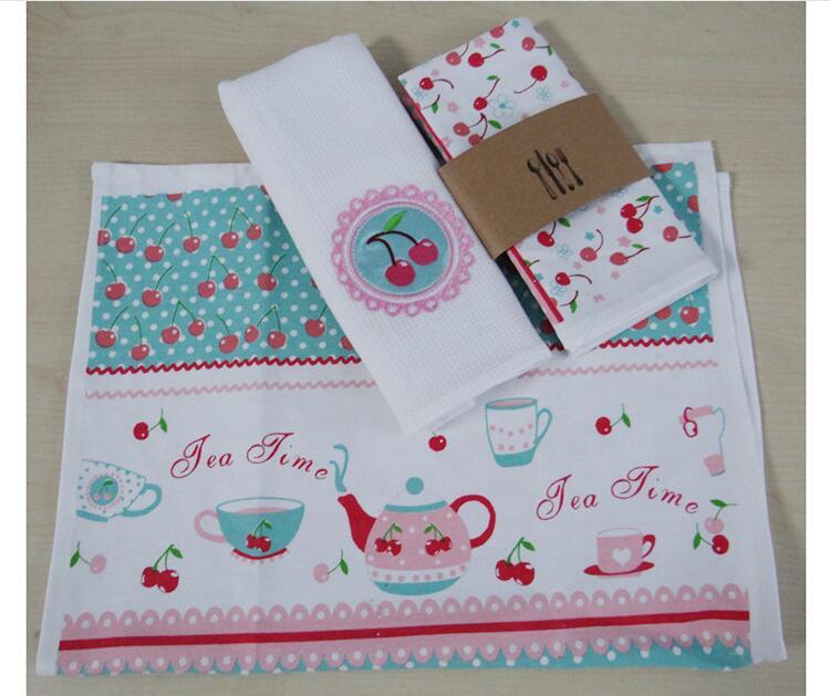 Eco-friendly Cotton Tea Towel Placemat Mat Dining Table Mat Pad Heat Resistant Cup Pad Coaster Table Decoration Kitchen wares