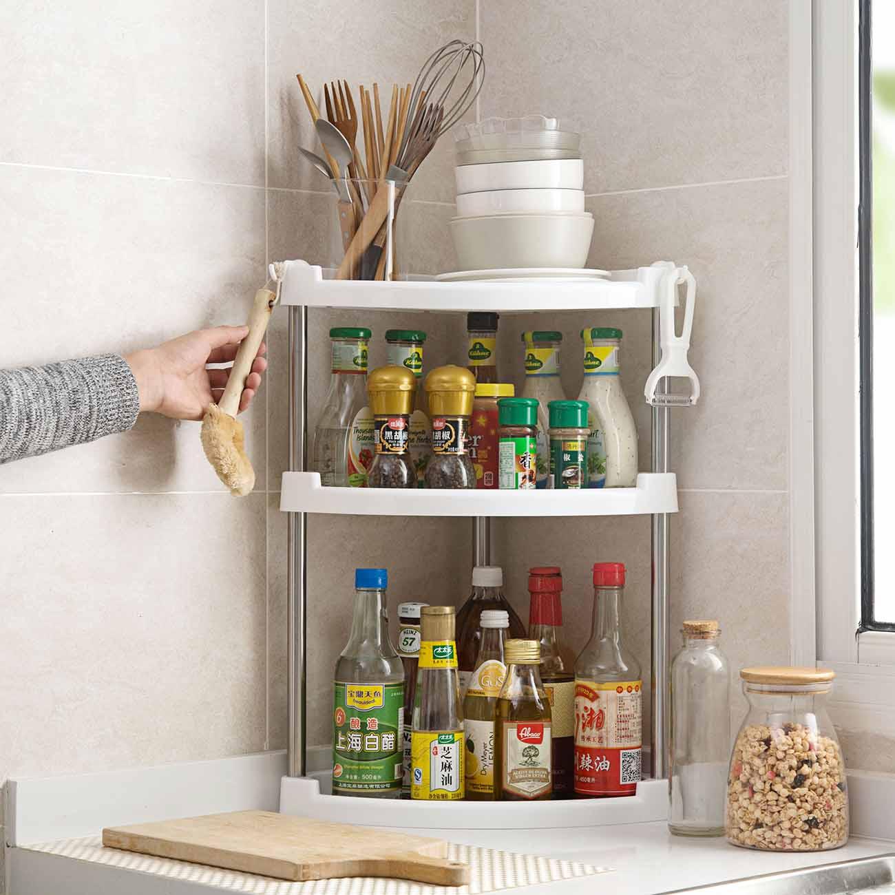 New Kitchen Bathroom Storage Rack 2-Layer Organizer Desktop Shelf Plastic Hold