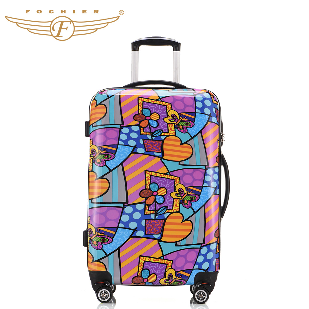 1 Piece Flower Printing Hardside Travel Trolley Luggage Suitcase 20 24 28 Spinner 4 Wheels ABS