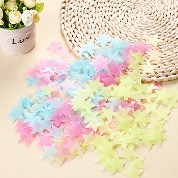 100pcs Luminous Wall Stickers Glow In The Dark Stars Sticker Decals for Kids Baby rooms Colorful Fluorescent Stickers Home decor 1