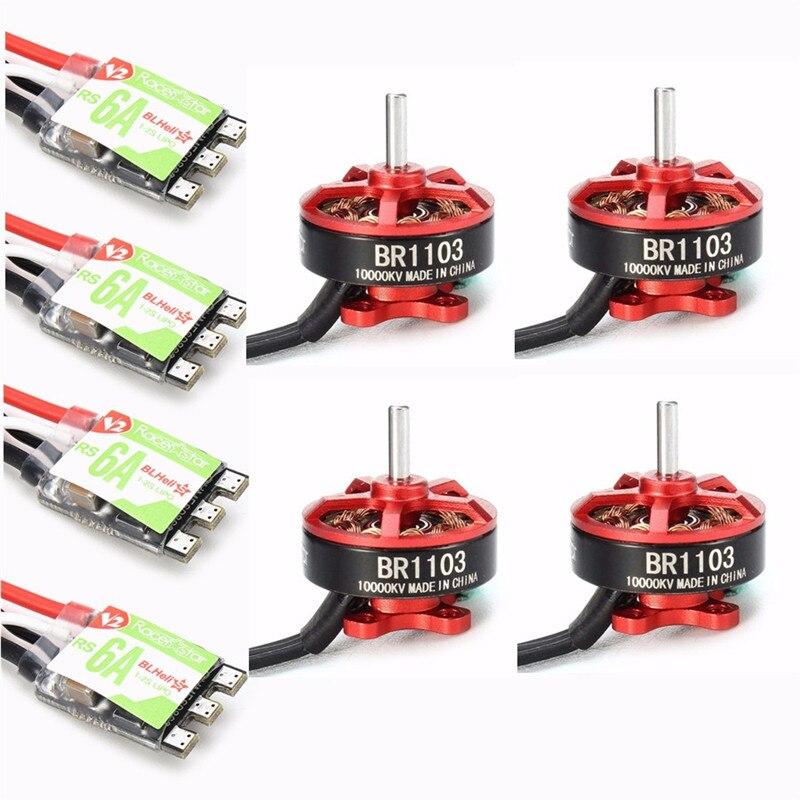 ФОТО High Quality 4PCS Racerstar Racing Edition 1103 BR1103 10000KV 1-2S Motor With 4PCS RS6A V2 Blheli_S 1-2S ESC D-shot Frame Combo