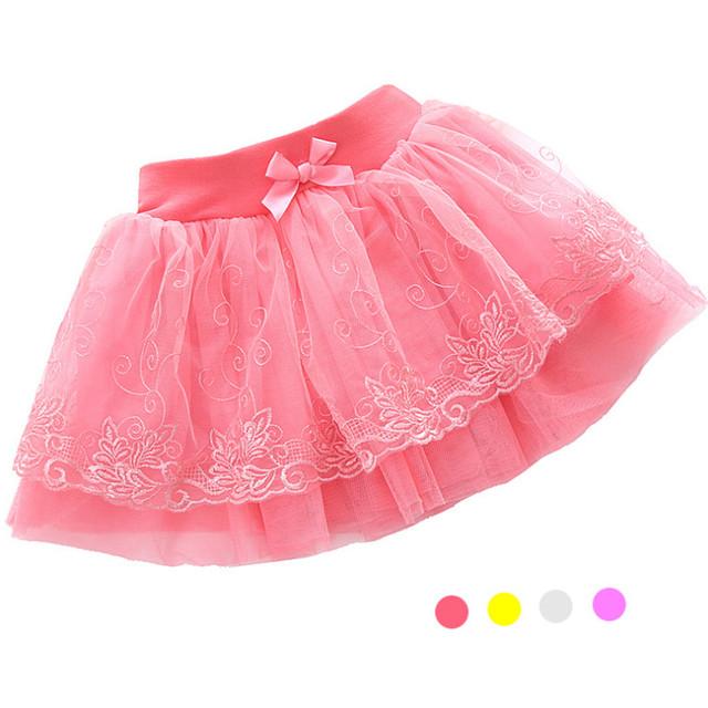 2-7 T Niñas Faldas de Verano Estilo de La Princesa de Malla vestido de Bola Mini Falda Con el Arco 2016 Nueva Moda Etapa rendimiento Del Banquete de Boda
