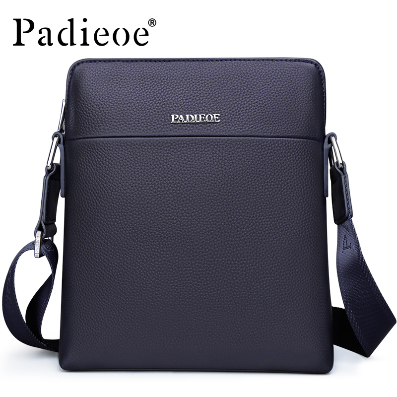 Padieoe Men's Real Cowhide Shoulder Bag Famous Brand Small Crossbody Bag High Quality Genuine Cow Leather Messenger Bag Hot Sale padieoe famous brand shoulder bag genuine cow leather crossbody bag classic designer messenger bag high quality male bags