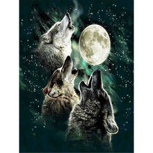 Three Wolves Under The Moon Full Drill 5D DIY Diamond Painting Kit 5d Diy Christmas Decorations for Home