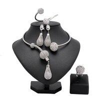 New Exquisite Dubai Jewelry Set Luxury Silver Color Big Nigerian Wedding African Beads Jewelry Set Costume