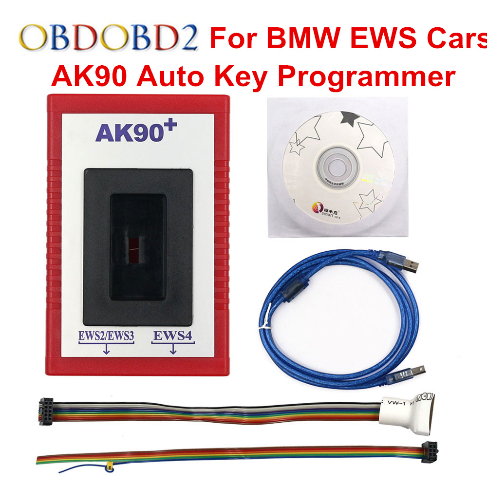 High Quality AK90 Pro Auto Key Programmer For <font><b>BMW</b></font> EWS <font><b>CAS</b></font> Benzine Cars from 1995 to 2009 AK90+ OBDII Transponder Free Shipping image
