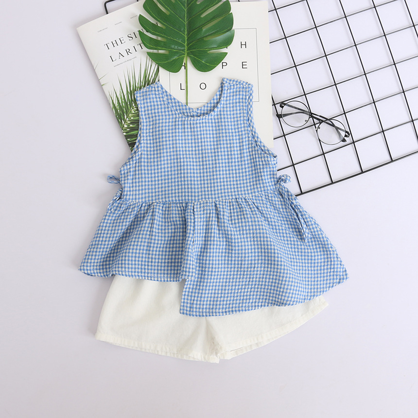 5135 Cute Hollow Back Plaid Toddler Baby Girls Clothing Set 2 Pcs: Vest + White Short Wholesale Summer Children Clothing 5P Lot
