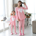Family Clothing 2016 Spring Autumn Cartoon Family Look Mother Daughter dot lvoe sleeping wear Pants set Family Matching clothes