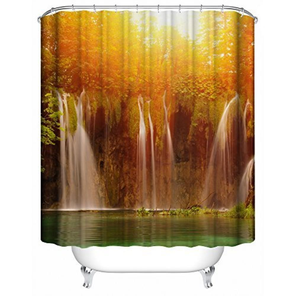 Custom river and sunset Pattern Waterproof Bathroom Shower Curtain 100% Polyester Fabric Shower Curtain Size 66 x72inch