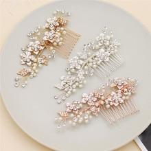 Jonnafe Rose Gold Flower Hair Comb For Bridal Handmade Wedding Hair Accessories Pearls Jewelry Women Headpiece