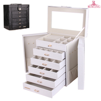 Large Jewelry Box Watch Case Beads Earrings Rings Jewelry Armoire Storage Case Black White Pink ZG231