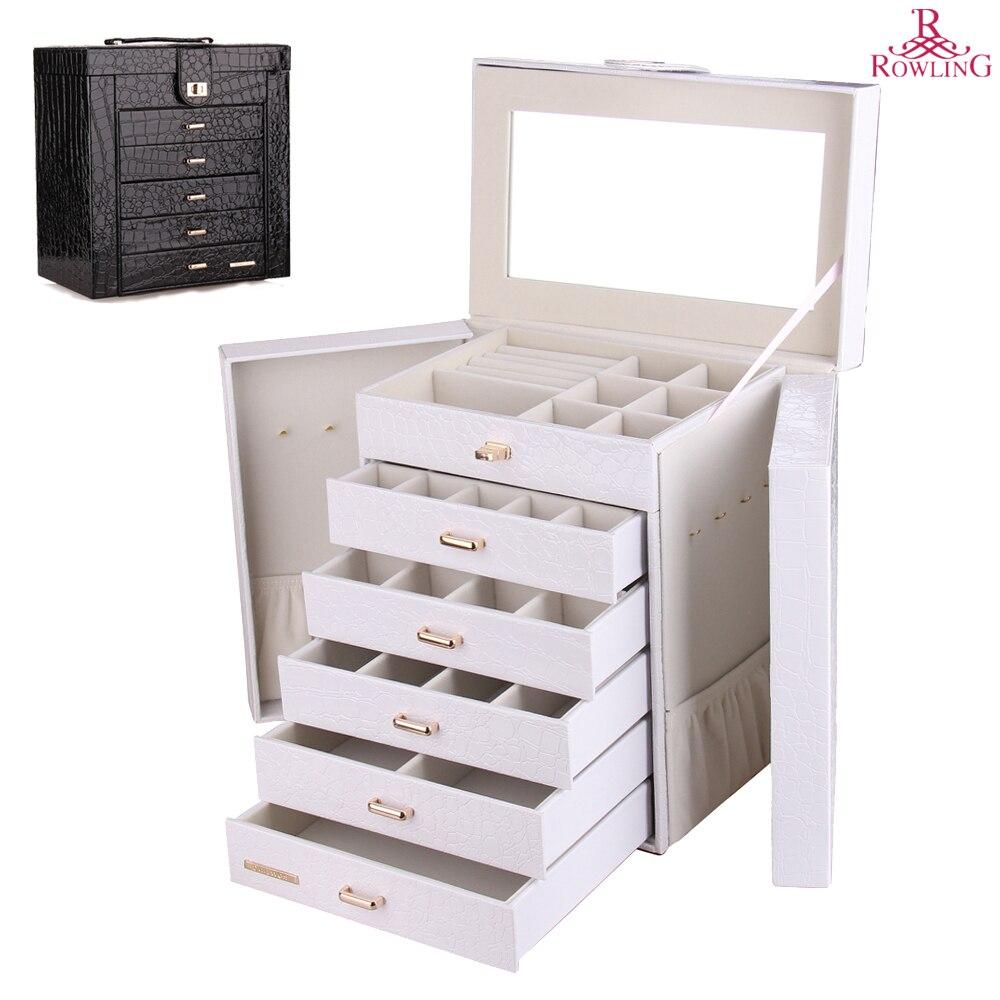 Grande boîte à bijoux montre boîtier perles boucles d'oreilles bagues bijoux Armoire mallette de rangement noir blanc rose cuir bibelot organisateur ZG231