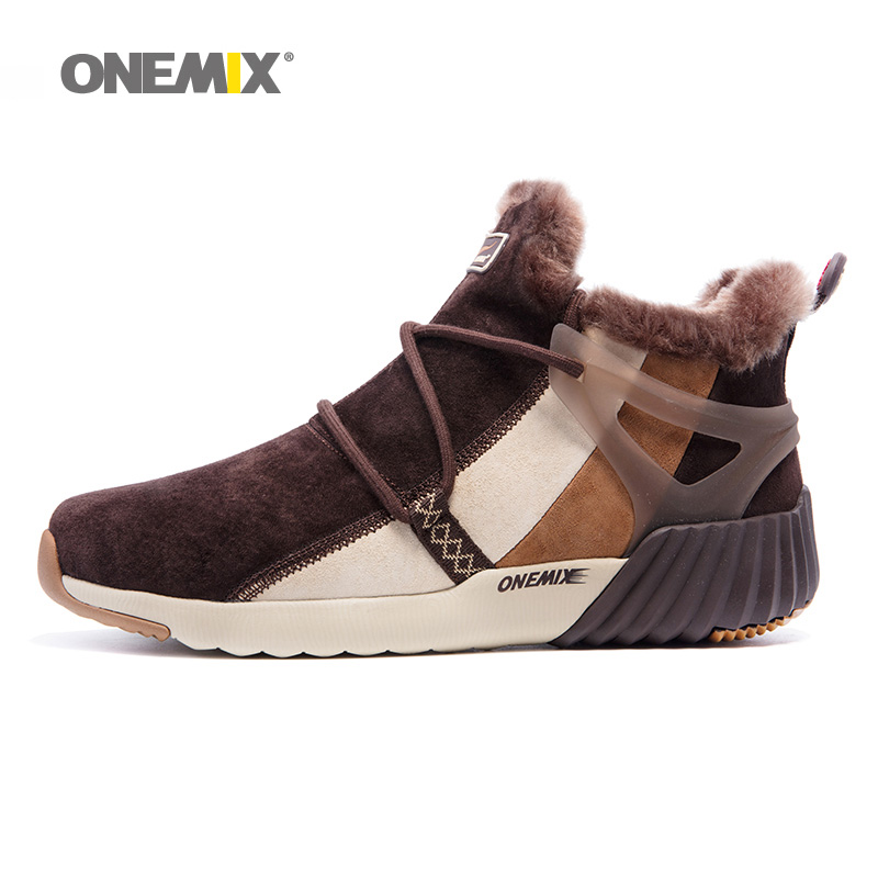 ONEMIX Winter Walking Boots For Men leather Warm Snow Shoes Waterproof Women Designer Outdoor Trekking Sneakers