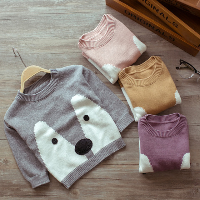 Children Sweaters Clothes Spring Autumn Baby Boys Girls Long Sleeve Cartoon Cotton Sweaters Lovely Sofe Pullovers For 0-3 Years