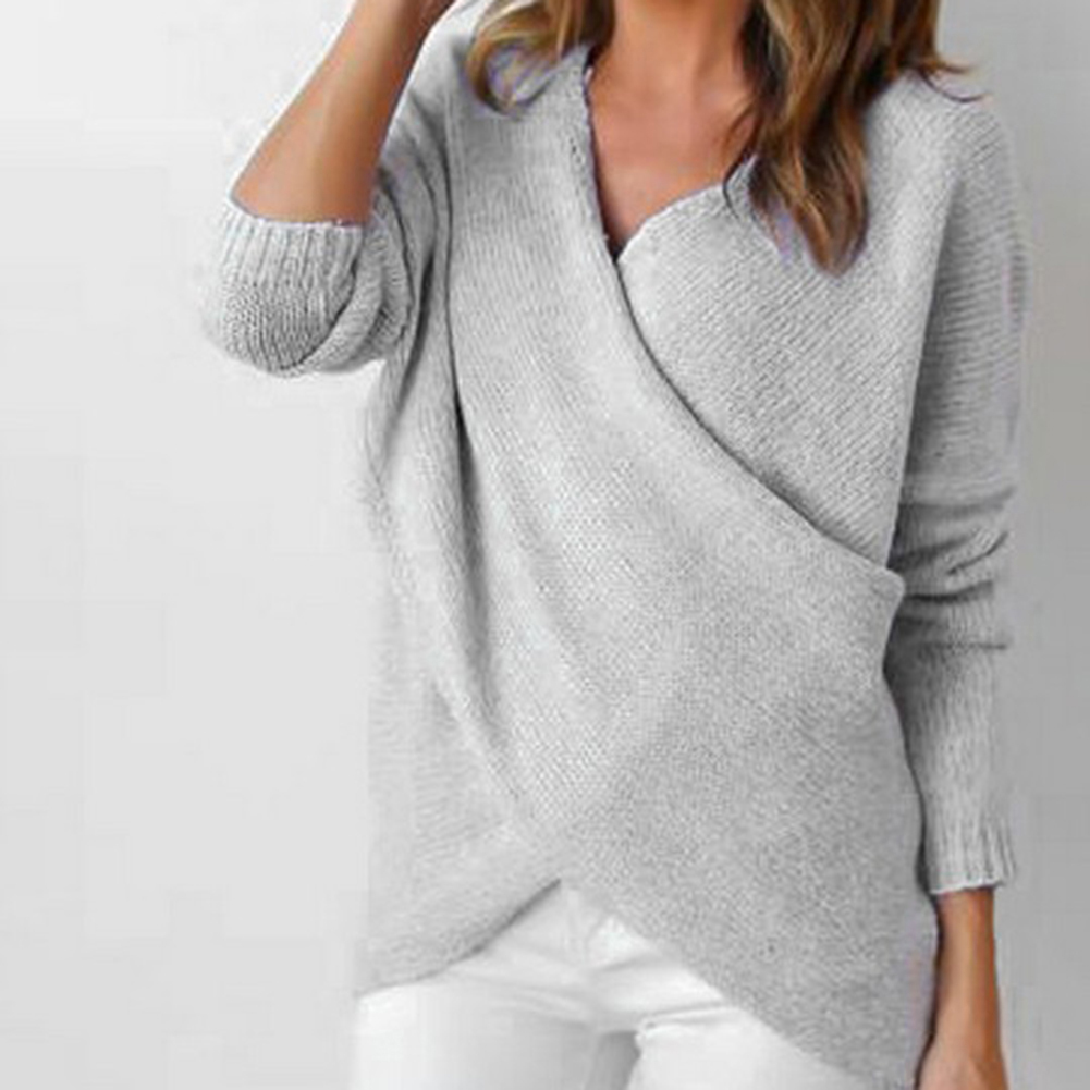 Women Autumn V Neck Design Pure Color Warm Fashion Knitwear Soft Sweater Hot Sale