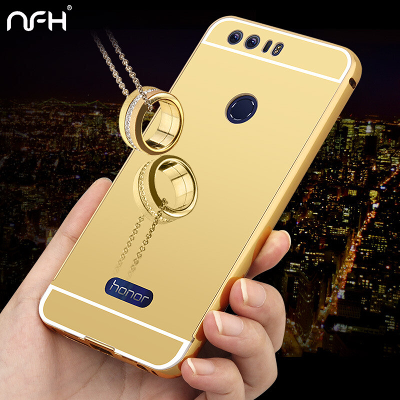 NFH Luxury Phone Case For Huawei Honor 8 lite Case Capa Mirror Soft Glossy Cover Back Protector For Huawei Honor 8 Case Shell