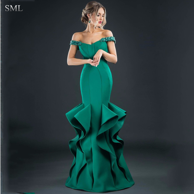SML Design Beaded Green Evening Dresses Long Mermiad Emerald Formal ...