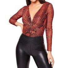 блузка женщины плюс размер женские топы и кофточки Шеин кутюр роковой 2019 женщин Леди Сексуальная темно-V-образным вырезом полный рукав Снэк печатных Z4 в аренду