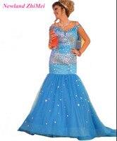 بحيرة زرقاء mermaid prom اللباس سباركلي الراين v الرقبة الرباط احتياطي تول امرأة ثوب فساتين السهرة الرسمية تصميم العظمى 2017