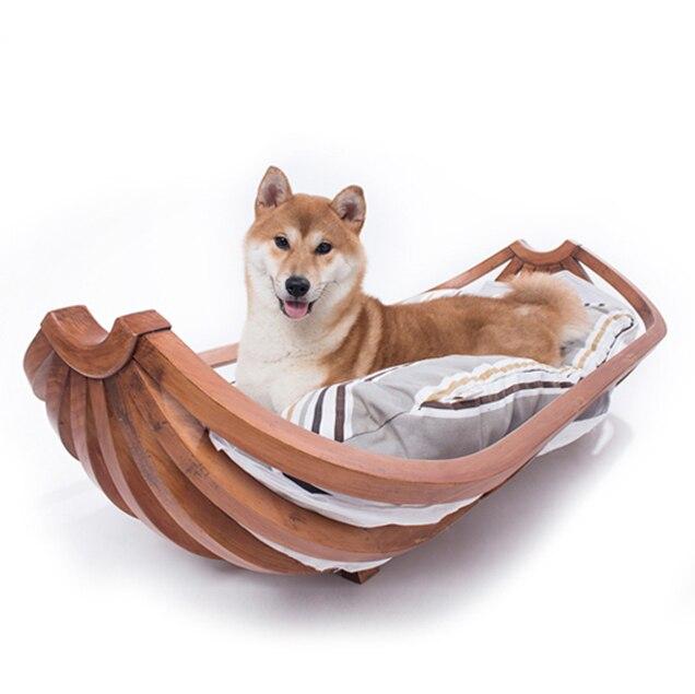 Large canine medium sized dog Labrador pet furniture banana boat dog nest pet bed solid wood dog bed