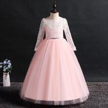 new girls dress long sleeve girl party for kids Wedding presiding Birthday robe fille Long sleeves