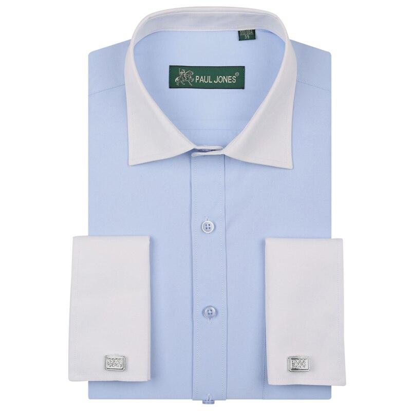 2017 Neue Mode Herren Patchwork Shirts Langarm Männlich Marke Shirts Regular Fit Frankreich Exquisite Manschettenknöpfe Hemden