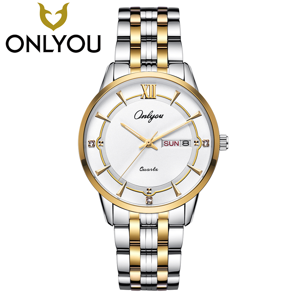 ONLYOU Lovers Watch Mens Watches Top Brand Luxury Women Dress Fashion Diamond Wristwatch Male Business Quartz Clock Wholesale onlyou men s watch women unique fashion leisure quartz watches band brown watch male clock ladies dress wristwatch black men