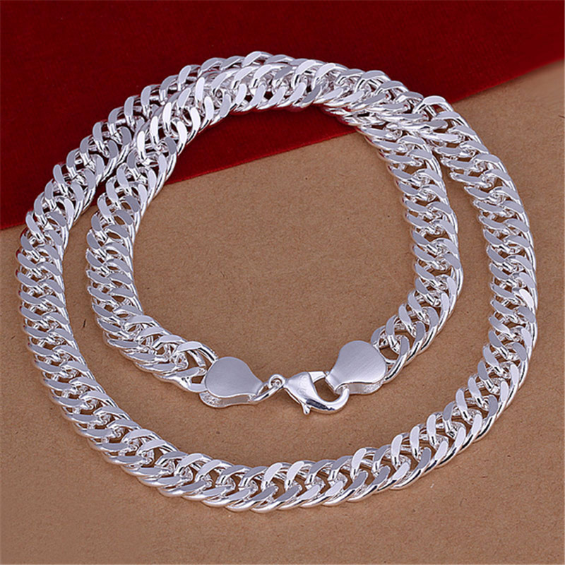 Silver Jewelry Long Necklace 10MM Wide 20inch Silver Necklaces Fashion Necklace men NS018